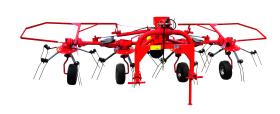 Four-rotor carousel tedder